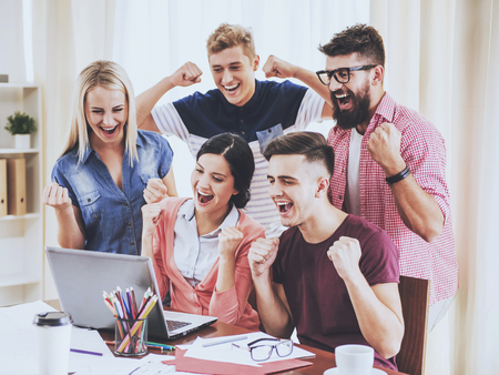 Group of Young People Working in Modern Office. Discussion of New ideas. Work in Office Concept. Presentation at Workplace. Modern Office. Success in Business Concept. Business Concept. 스톡 콘텐츠