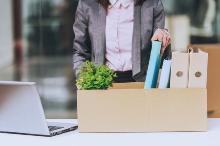 Business Woman Wraps Documents. Box for Moving. Young Manager in New Office. Female Employee. Corporate Background. Secretary Worker. Business Concept. Working Process. Office Manager. Standard-Bild - 106089476