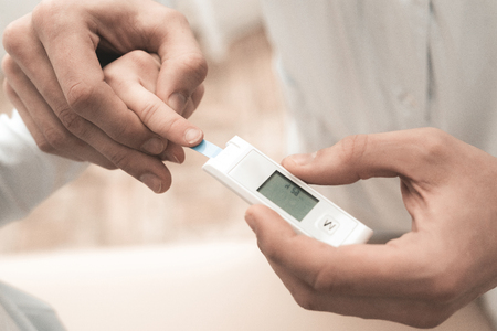 Arabian Doctor Is Making Sugar Test To Child. Medical Health Care. Professional Medicine. Physician Help. Therapist Counseling. Hospital Meet. Glucometer Test. Diagnostic Results.. 写真素材