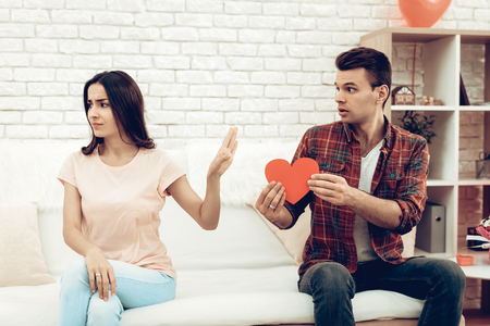 The Girl Refuses Boyfriend On Saint Valentines Day. Love Confession. Family Quarrel. Disappointed Sweathearts. Begging For Apologize. Unhappy Female Deny. Couple Holiday Misunderstanding.