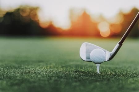 Golfschläger und Golfball auf Stand auf der grünen Wiese. Grünes Gras. Sport im Sommer Konzept. Outdoor-Spaß-Konzept. Weißer Ball. Sonniger Tag. Sport auf dem Feld Konzept. Kleiner Ball. Stahl Golfschläger. Standard-Bild