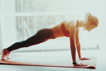 Young Sporty Woman Is Doing Push Ups On The Gym Carpet. Active Lifestyle. Doing Fitness At Home. Holiday Leisure. Body Balance. Sport Exercise. Triceps Exercises Training. Sunny Day.