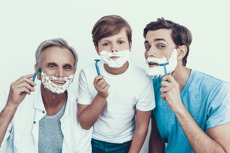 Grandfather, Father and Son Shaving Together.