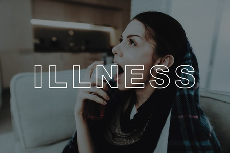 Girl With A Cold Sitting On Couch With Spray.