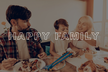Family. Cups of Tea. Holiday. Blue Shirt. Baked Turkey. Happy Family. Thanksgiving Day. Traditional Dinner. Have Fan. Together at Home. Autumn Feast. Celebrating Holiday. Delicious Food. Imagens