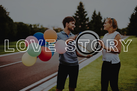 Balloons. Young People. Gyroboard. Monocle. Smiling People. Love Story. Hold Hands. Arms Apart. Couple. Riding. Happy. Country Park. Happy Together. Park. Relaxation. Have Fun. Romantic Relationships. Stok Fotoğraf