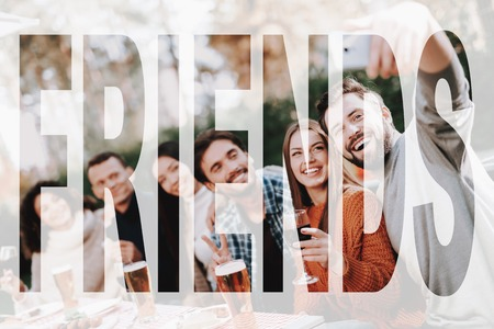 Guy Makes A Selfie With Friends On BBQ Vacation. Stock Photo