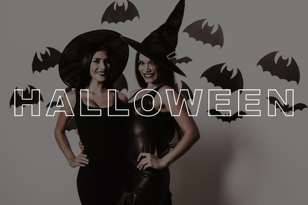 Wall with Black Bats. Lady on Halloween Party. Slender Two Women Smile. Women in Sexy Black Dresses. Girls in Witch Hats. Party in Magic Studio. Pretty Girls in Halloween Makeup. Gothic Look.