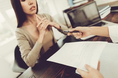 Young Woman Came To The Lawyer. Divorce Concept. Disappointed Female.Consultation With A Professional Specialist.
