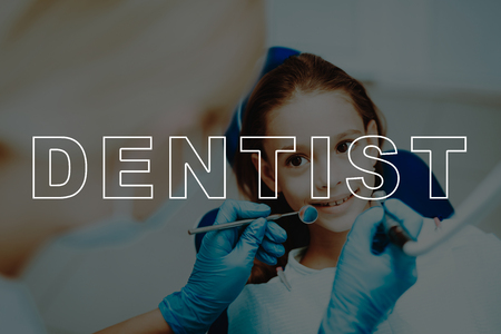 Dentist Examine Girl Teeth. Smiling Kid. Dentist Necessary Tools.