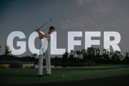 Professional Golfer Taking Swing Shot. Man Plays Golf. Sports in Sunny Day. Summer Weekend. Golf Course along Lake. Beautiful Landscape. Luxury Active Recreation. Elite Sports. Transparent Text.
