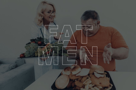 Fat Men Overweight Problem. Nutritionist Visit. Adult Male. Professional Physician Specialist. Consultation With Doctor. Medical Advice. Big Belly. Junk Food. Healthy Lifestyle. Vegetarian Menu.