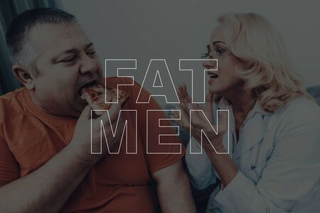 Fat Men Pizza Eating. Nutritionist Visit Concept. Overweight Adult Male. Stock Photo