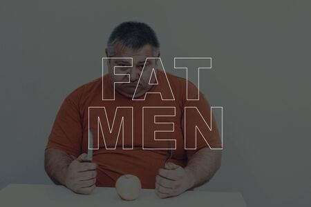 Big Fat Men Overweight Problem. Eat An Apple. Healthy Lifestyle. Stock Photo