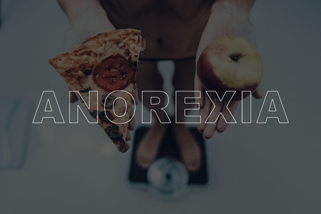 Anorexia Girl Stands On Weights. Pizza And Apple. Sick Female. Nervosa Problem. Healthy Lifestyle. Medical Healthcare. Need For Treatment. Make A Decision. Skinny Woman. Weight Problem.