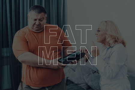 Fat Men With Doctor. Overweight Problem Solving. Bulimia Disease. Medical Healthcare. Professional Nutritionist Help. Specialist Attention. Big Belly. Soda Taking Away. Getting Better.