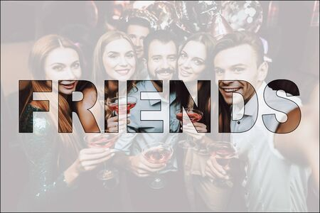 Collage Friends Make Selfie in Luxury Nightclub. Young People Beautiful Outfits. Women and Men Drink Alcoholic Cocktails. Looking at Camera. Colleagues Dance Hold Martini Glasses. Party Time Concept