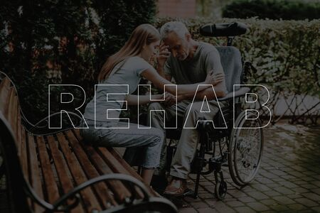 Collage Rehab Disabled Man with Daughter Outdoors. Senior Patient in Wheelchair. Woman Holding Sad Father Hands. Sitting on Bench in Park.