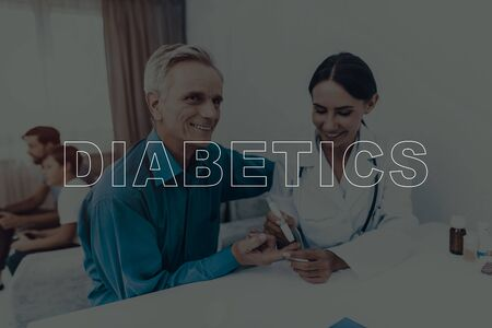 Doctor Takes Blood From Elderly Mans Finger. Test Strip. Diabetics Concept. Skilled Endocrinologist. Sugar Level Measuring. Son And Grandson. Background Console Playing. Happy Family.