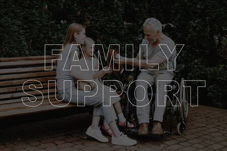 Collage Family Support Man in Wheelchair Talking. Woman with Girl Sitting Park Bench. Teddy Bear Toy. Laugh Having Fun Outdoors. Zdjęcie Seryjne
