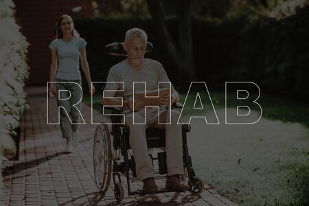 Collage Rehab Invalid Man Reading Book Outdoors. Senior Patient Sit in Wheelchair. Smiling Woman Walking in Green Park. Elderly Person Undergoing Rehabilitation. Healthcare Concept