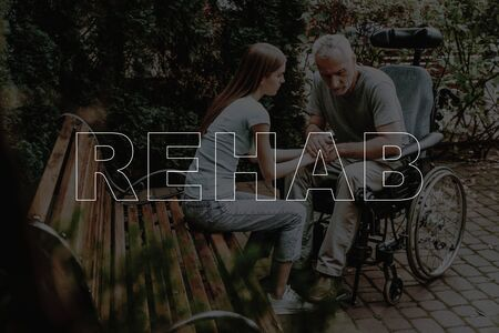 Collage Rehab Disabled Man with Daughter Outdoors. Senior Patient in Wheelchair. Woman Holding Sad Father Hands.