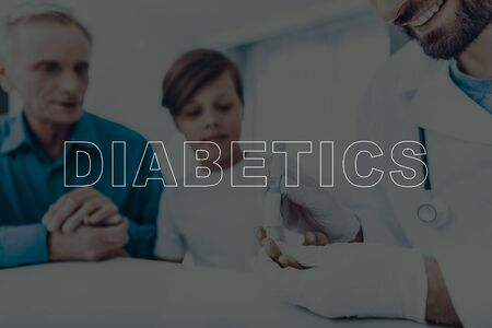 Experienced Qualified Doctor Takes Blood From The Child's Finger. Test Strip. Diabetics Concept. Skilled Endocrinologist. Sugar Level Measuring. Kid's Analysis. Grandpa Supporting.