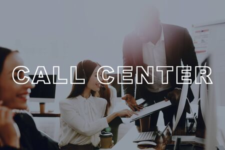 Call Centre Workplace. Office Workplace. Young Lady Manager. Customer Service. Help Senior Worker. Agent Training.