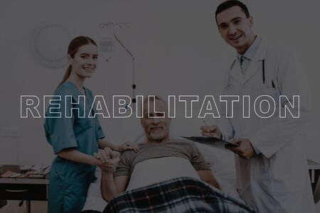Collage Rehabilitation Patient Clinic Examination. Doctor and Nurse Examine Sick Man. Medical Check Up Report Form. Old Person Lying in Hospital Bed. Medical Check Up.