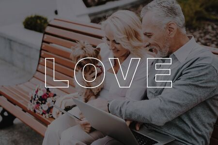 Woman Hold Little Dog. Man Sit with Laptop. Couple Love Story. Woman See in Tablet. Old People Happy Together. Pensioners Bubbly Relationships. Couple Have Interesting Trip. Pensioners Sit on Bench. Standard-Bild