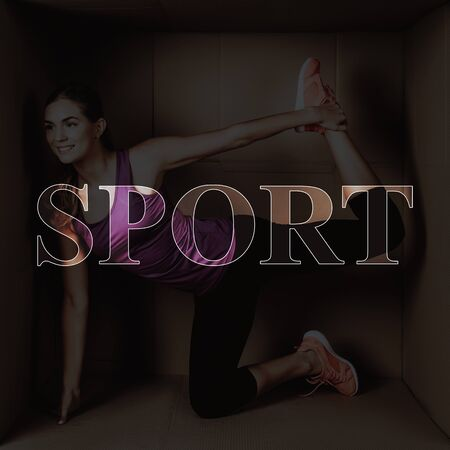 Happy Woman is Stretching. Sportswoman Inside of Cardboard Box. Yoga Pose, Sport. Dealing with Stress. Concept of Stress Relief. Lack of Personal Space.