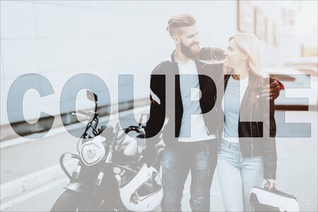 Collage Young Couple Walking away from Motorcycle. Attractive Girl and Brutal Male Biker standing in front of Motorbike with Helmets. Stylish Man and Beautiful Woman wearing Leather Jackets Stock Photo