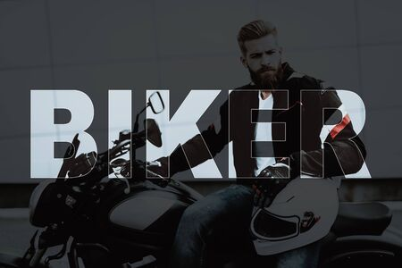 Collage Brutal Male Biker Sitting on Motorcycle. Young Bearded Man wearing Leather Jacket. Handsome Muscular Motorcyclist holding Helmet.