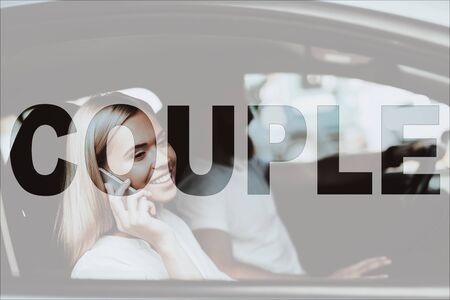 Collage Young Happy Couple in Modern Car Together. Handsome Man and Beautiful Woman inside Luxury Car. Confident Bearded Man Driving. Attractive Woman on Passenger Seat Talking on Phone