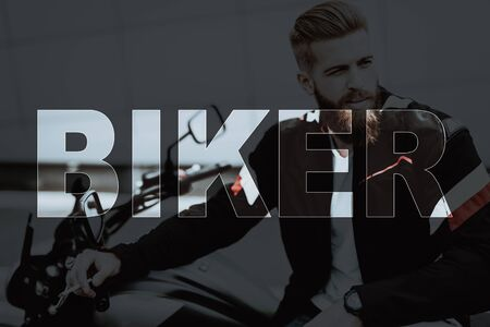 Collage Brutal Male Biker Sitting on Motorcycle. Young Bearded Man wearing Leather Jacket. Handsome Muscular Motorcyclist Smoking Cigarette. Elegant Black Motorbike on Street. Macho on Motorcycle