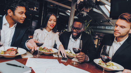 Business People Colleagues Corporate in Restaurant. Group Business People Geting Order in Restaurant. Corporate, Collaboration Concept. Team Professional Worker. Teamwork. Celebration Together.