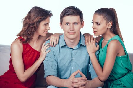 Two Handsome Women Flirting Man Love Triangle.