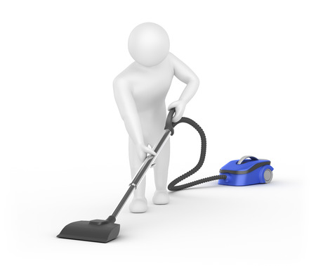 3D White man cleaner isolated in white