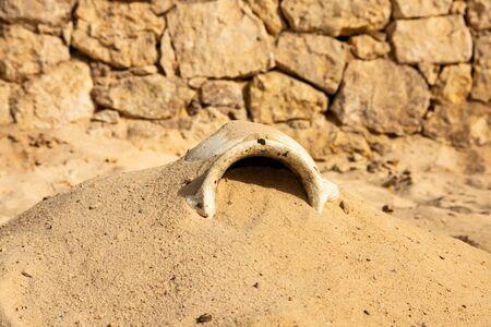 A clay jug buried in the sand Zdjęcie Seryjne