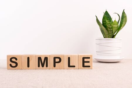 SIMPLE word made of building blocks on a table with a flower and a light background