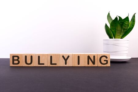 BULLYING word made with building blocks on a light background