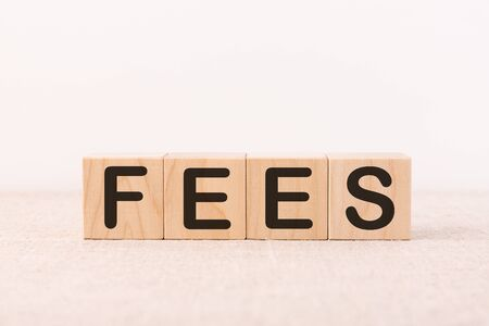 Wooden blocks with the word FEES on a light background. The fixed price charged for a particular service. The concept of business and finance. Costs, expenses, commissions, fines. Cost, fees and taxes.