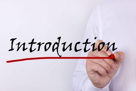 La scrittura a mano Introduzione con pennarello rosso. Affari, tecnologia, concetto di internet. Archivio Fotografico