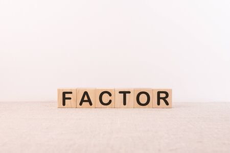 factor - word made from wooden blocks with letters, extremely impressive or attractive, factor concept, white background