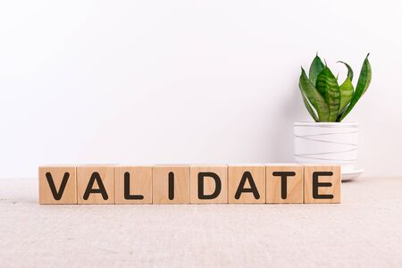 VALIDATE word made with building blocks on a light background Archivio Fotografico