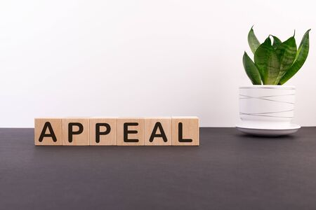 Appeal word on wooden cubes on a dark table with a flower and a light background Stock fotó