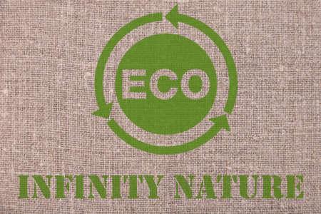 EKO Infinity nature. Lettering concept made on linen