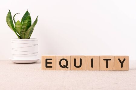 EQUITY word made with building blocks on a light background 版權商用圖片