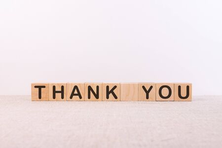 THANK YOU word made with building blocks on a light background