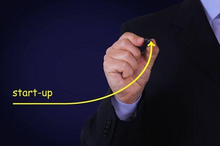 Businessman draw growing line symbolize growing Start up